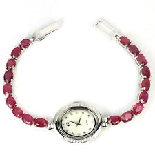 Sterling Silver 925 Genuine Natural Heat Enhanced Pink Ruby Watch 7.75 Inch
