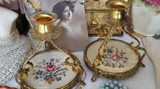 2 Gorgeous Vintage 1930's Petit Point Embroidered Dressing Table Candlesticks