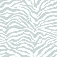 Zebra Print Wallpaper - Silver Metallic