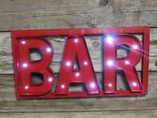 "FUNKY RETRO LIGHT UP WALL SIGN ""BAR"" WALL DECORATION PUB BAR SIGN AA BATTERIES"