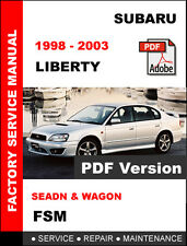 1998 1999 2000 2001 2002 2003 SUBARU LIBERTY OEM FACTORY WORKSHOP FSM MANUAL