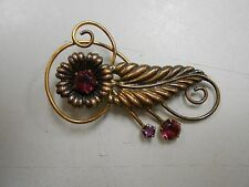 Vintage 12k Gold Filled Flower and leaf brooch pin! Purple glass! VERY PRETTY!