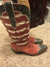 Corral Women's Red/White/Blue Flag Leather Western Boots A2515 Size 9.5 July 4th