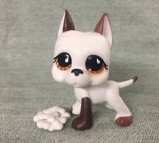Littlest Pet Shop LPS WHITE GREAT DANE DOG BROWN EYES #750 w/ Authentic