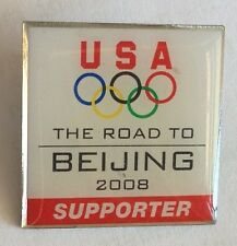 USA Road To Beijing 2008 Supporter Olympics Pin Badge Rare Vintage (F3)