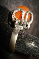 Sterling Silver Brutalist Modernist Goth Round Stone Ring COOL