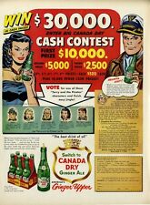 1953 Canada Dry Cash Contest Bottle Fun Vintage PRINT AD