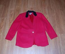 Sag Harbor Christmas Wool Red Blazer Black Collar  Women's Size 12