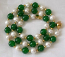 7-8MM White Akoya Pearl & Emerald Necklace 18'' AAA