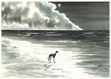 Whippet greyhound  Dog  Beach Watercolour   Painting