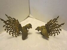 "VINTAGE Solid BRASS FIGHTING COCKS ROOSTERS FIGURINES 6"" x 4.5"""