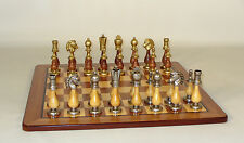 "Chess Set, Staunton Metal and Wood Pieces, Padauk Maple Board 4"" King"
