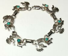 J5617 AWESOME NAVAJO STAMPED STERLING SILVER TURQUOISE KOKOPELLI BRACELET