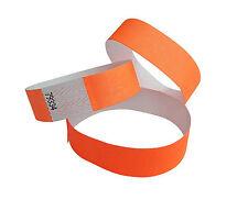 100 Braccialetti di bande Tyvek-. evento - neon arancione - fluo