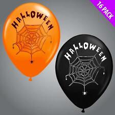 16 Pack Orange and Black Halloween Printed Latex Balloons Party Decor Web Spider
