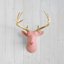 Wall Charmers Salmon Mini Deer + Gold Antler Coral Pink Faux Head Fake Animal