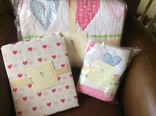 POTTERY BARN KIDS Heart Twin Quilt, Heart Sheet Set & Quilted Sham 5 pc Set NEW