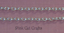 2 Metres x Cable Chain Silver Plated Links 5mm x 3.5mm
