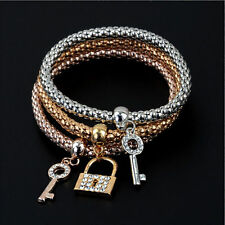 Women 3/Pcs Bracelet (Gold, Silver and Rose Gold)Plated KEYS AND LOCK charm