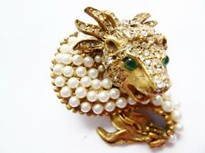 Rare vintage Kenneth J. Lane KJL Laguna Dragon pin w faux pearls & rhinestones
