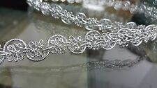 1.5cm- 1 meter high quality gorgeous silver braid lace trimming for crafts decor