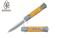 New In Box Buckshot YC-S-108-YL Assisted Opening Yellow Stiletto Style Folder
