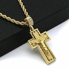 "Hip Hop 14k Gold Plated Dia Cut jesus Hang Cross Pendant 24"" 4mm TCH Rope Chain"