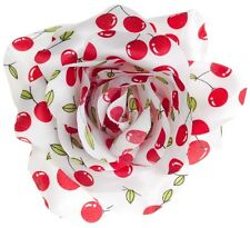 SOURPUSS WHITE CHERRIES ROSE HAIR CLIP ROCKABILLY GOTH PSYCHOBILLY PINUP