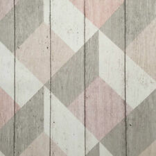 Pink, Beige, Grey & White Rustic Geometric Textured Wood Panel Wallpaper - 10m