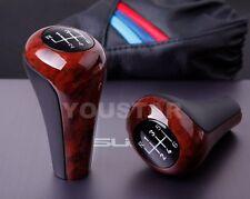 #1H Elegant BURL WOOD & BLACK Glassy Manual Gear Shift Knob BMW 6 Speed MT NEW