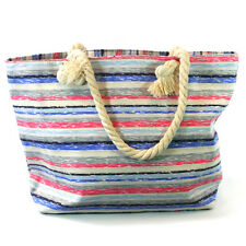 Multi Stripes Beach Bag Zip Fastener Rope Handles Holiday Travel Seaside 104-651