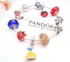 Authentic Pandora Silver Bangle Bracelet with Snow White Disney European charms