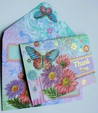 *PUNCH STUDIO Set of 5 Gold Foil Thank You Blank Note Cards ~ Floral ~ Butterfly