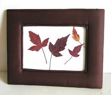 "Pressed Dried Autumn Leaves Botanical 7.75x10"" Fabric Padded Frame FREE SH"