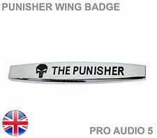 Punisher Chrome Wing Car Badge Body - VW Audi Ford Skoda Fiat Seat Van Truck UK