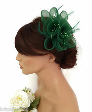 Elegant Bottle Green Fascinator Hair Clip Grip in Mesh Net with Pearlised Beads