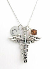 Medical Initial Necklace Doctor Necklace Medical Caduceus Charm Necklace