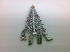 CHRISTMAS TREE BROACH/PENDANT WITH COLORED STONES & 4 DANGLE CHARMS