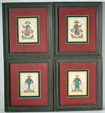 Set of 4 Vintage Folk Art Pastel Drawings Wall Art Sheep Chickens Farm Life