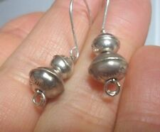 STAMPED OLD  VTG NAVAJO PEARLS NATIVE BENCH BEAD DANGLE EARRINGS Sterling Silver