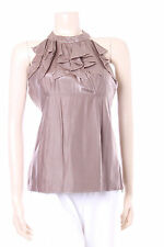 Nueva Brown Gold Evening Top Size 10 Ladies Shimmer Blouse Womens