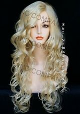 EXTRA LONG Curls Pale Blonde Side Skin top WIGS JSOB 613