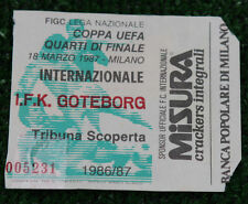 Ticket for collectors UEFA Inter Milan IFK Goteborg Italy Sweden 1987