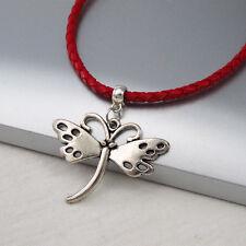 Silber Legierung Schmetterling Charme Anhänger Geflochten Rot Leder Halsketten