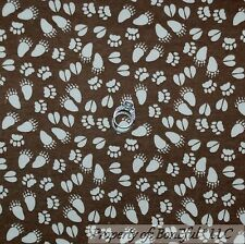 BonEful Fabric FQ Cotton Quilt Flannel Brown Cream BEAR Animal Paw Print Calico