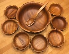 Monkey pod Wooden Wood Salad Bowl Set Vintage
