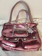 Rare Authentic COACH Pink Sequin Poppy Spotlite Handbag Purse Tote Bag # 13821
