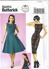 Vtg 50s Retro Rockabilly Straight Dress Back Detail Sew Pattern 14 16 18 20 22