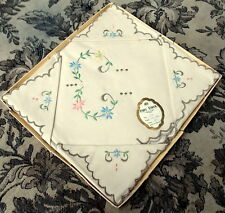 Vintage Pure Irish Linen embroidered floral detail tablecloth & napkins tea set