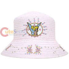 Disney Tinkebell Fairies Pink Straw Bucket Hat Kids Hat with Rhinestones